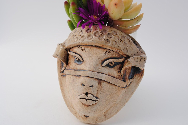 Ceramic Face Planter Garden Pocket Wall Decor Sale Price Art