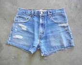 Vintage Distressed Denim Cut-Off Shorts