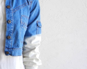 Cropped Ombre Denim Jacket