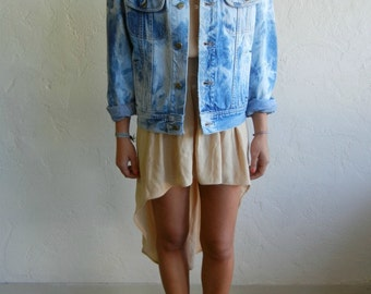 Vintage Lee Light Blue Marbed Denim Jacket