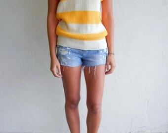 Vintage Yellow & Beige Striped Knit Top