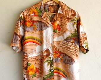 Orange Rainbow Hawaiian Shirt