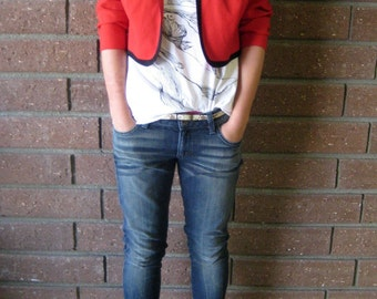 "Red and Black Cropped ""MJ"" Blazer Jacket"