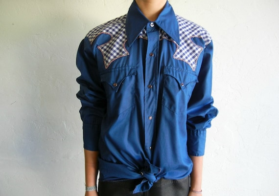 Blue Gingham Print Patchwork Western-Style Buttondown Shirt