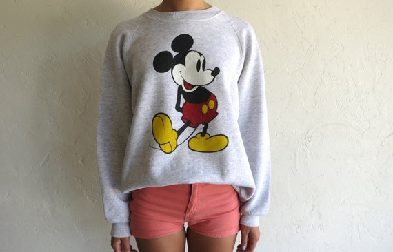Vintage Mickey Mouse Heather Grey Crewneck Sweatshirt