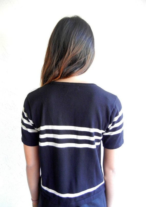 Black and White Striped Knit Tee