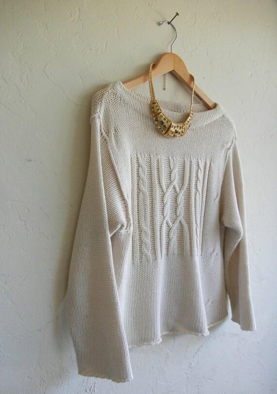 Vintage Beige Boatneck Knit Sweater
