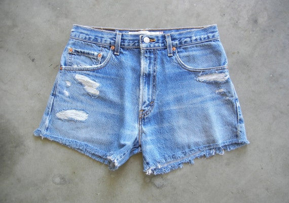 Vintage Distressed Denim Cut-Off Shorts