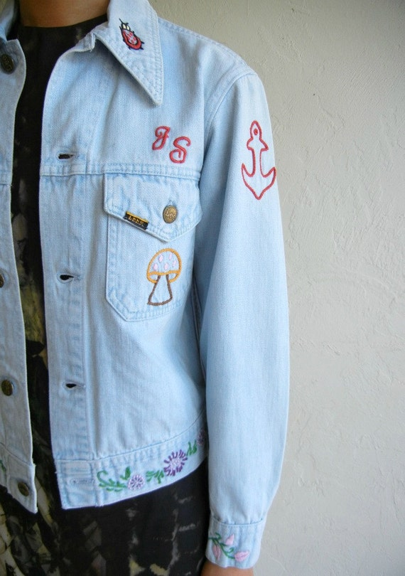 Vintage Lee Boho Embroidery Light Blue Denim Jacket