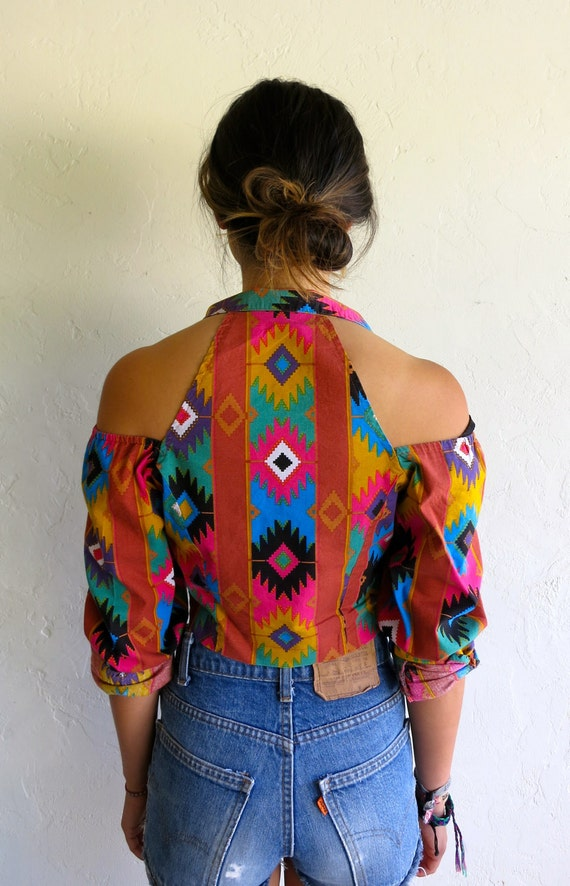 Aztec Print Cut Out Crop Top - Enter SUMMA12 at checkout for 30% off