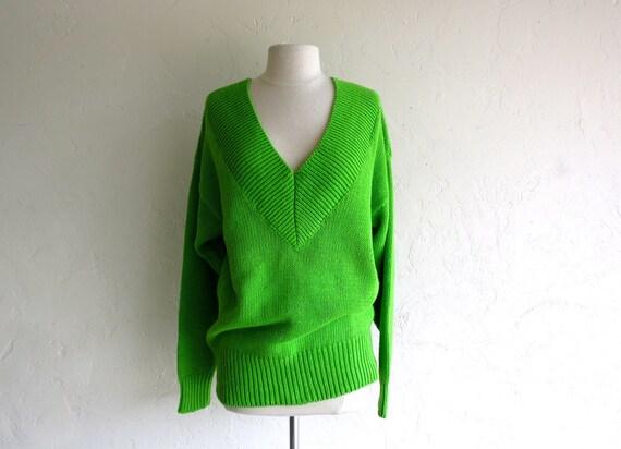 Vintage Oversized Green VNeck Sweater