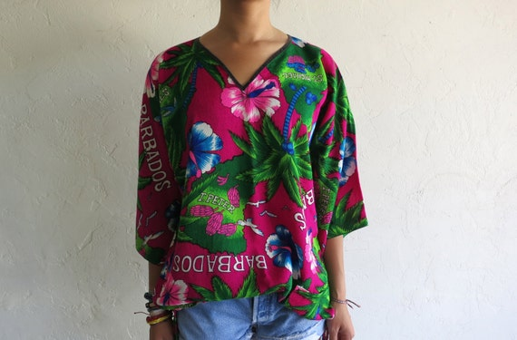 "Pink ""Barbados"" Tropical Hawaiian Print Tunic"