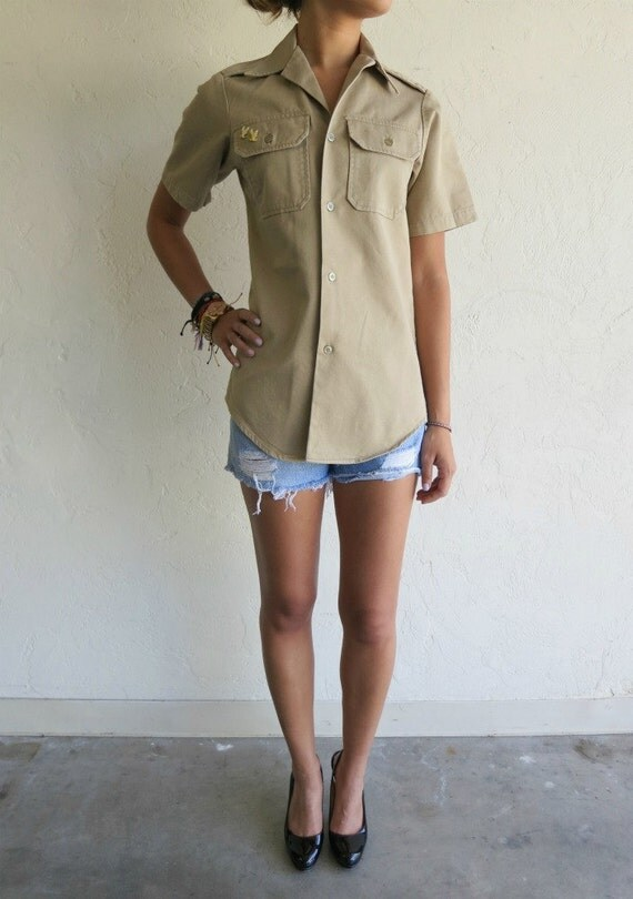 "Taupe ""Eagle"" Scout Military Shirt"