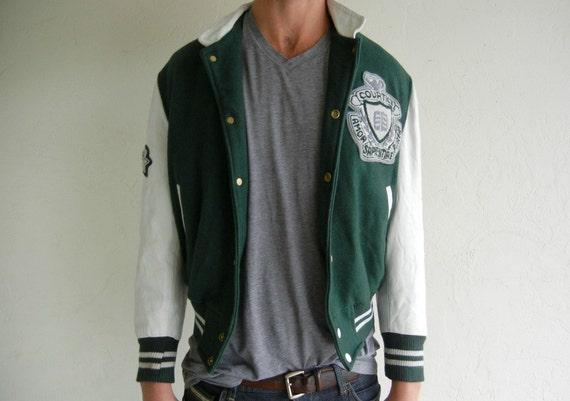 Green & Beige Varsity Letterman Jacket