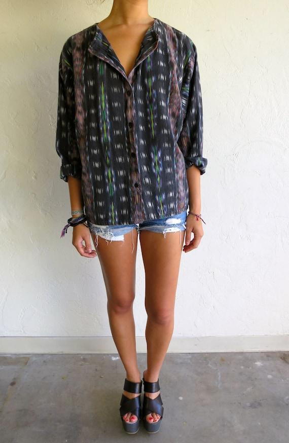 Black Hand-Woven Multicolor Ikat Design Shirt