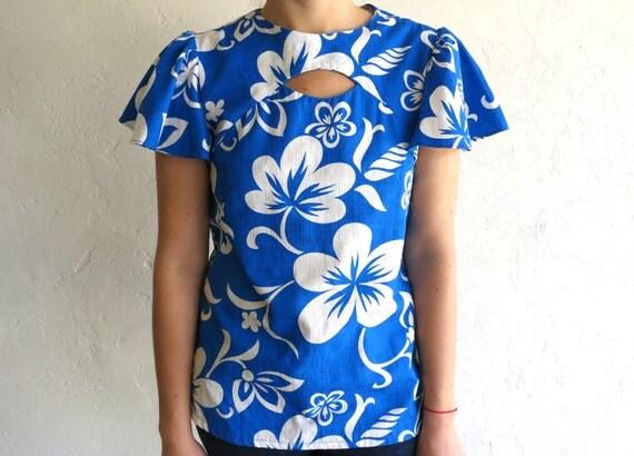Blue Cut-Out Hawaiian Ruffle Sleeve Top