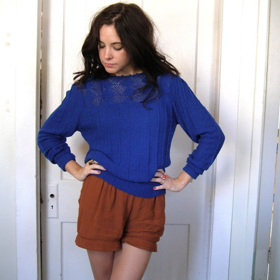 Royal Blue 80s Sweater in Openweave Knit size M/L