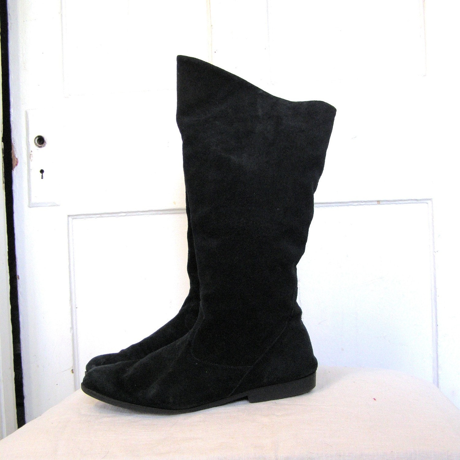 black suede slouch boots size 10 5