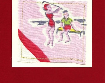 Vintage Tablecloth - Greeting Card - Golf - Florida - Couple