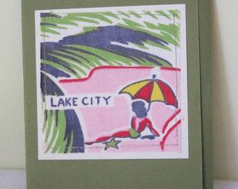 Lake City - Florida - Vintage Tablecloth - Greeting Card