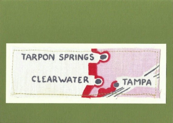 Vintage Tablecloth - Greeting Card - Tarpon Springs