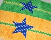 Green Blue Stars Children's Bathroom Towels