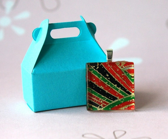 BLACK Friday STEAL Chiyogami Stripes of Decoration Square Glass Pendant OOAK - with chain
