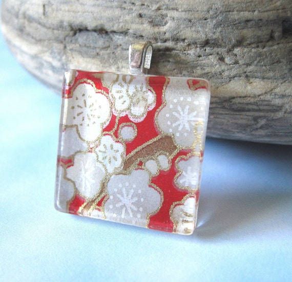 Square Glass Pendant Necklace in Whimsical Bubbly Flowers in Red and Gray.  Japanese Chiyogami Asian Paper and Glass Tile.