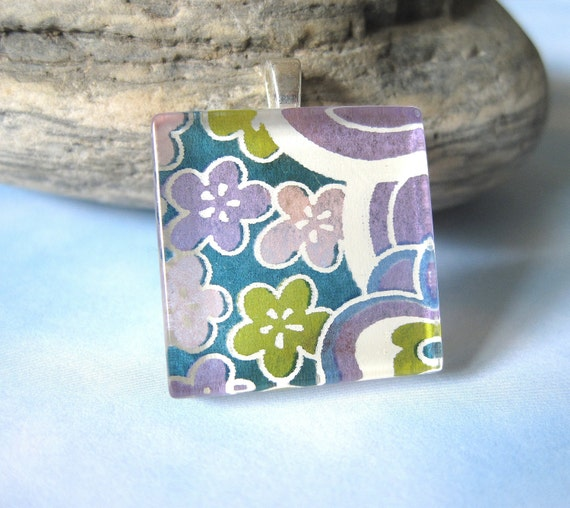 BLACK FRIDAY STEAL Rainbow Flower in Purple Square Pendant. Japanese Chiyogami Necklace. Asian Paper and Handmade Glass Tile.