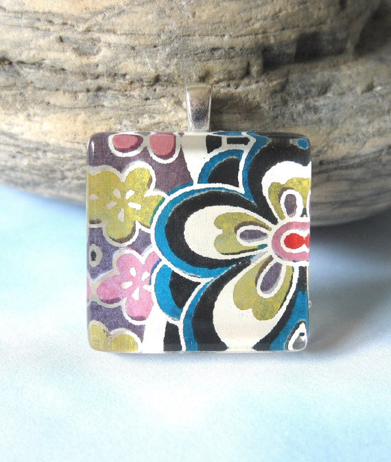 BLACK FRIDAY STEAL Rainbow Flower in Black Square Pendant. Japanese Chiyogami Necklace. Asian Paper and Handmade Glass Tile.
