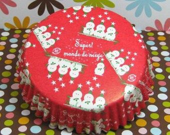15 Snowman Large Baking Cups