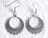 Antiqued Silver Filigree Hoop Pierced or Clip On Earrings