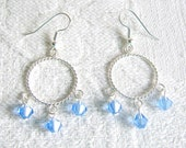 Twisted Silver Circle Pierced or Clip On Earrings with Blue Crystals