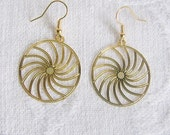 Swirling Gold Circle Pierced or Clip On Earrings