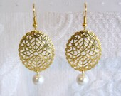 Gold Oval Filigree and Pearl Dangle Pierced or Clip On Earrings