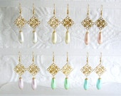Gold Filigree and Pearl Teardrop Pierced or Clip On Earrings, 12 Colors Available