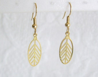 Gold Leaf Pierced or Clip On Earring