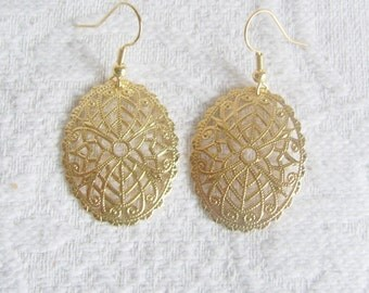 Large Gold or Silver Oval Filigree Pierced or Clip On Earrings