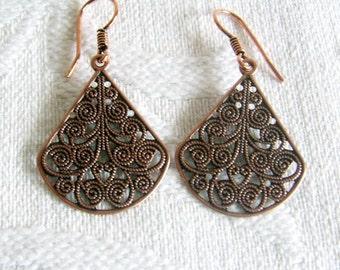 Copper Filigree Teardrop Earrings