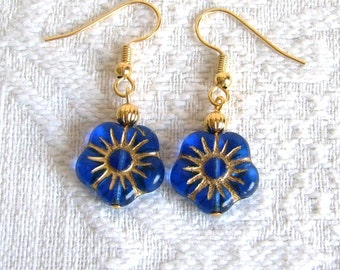 Blue Glass Flower Pierced or Clip On Earrings