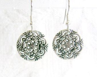Antiqued Silver Snowflake Earrings