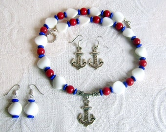 Resort Wear: Nautical Red, White and Blue Necklace