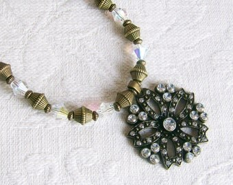 SALE Antiqued Brass and Crystal Necklace and Earrings