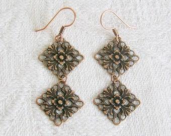 Copper Filigree Double Linked Charm Pierced or Clip On Earrings
