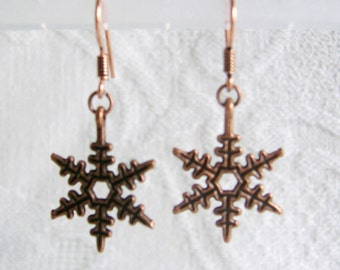 Copper Snowflake Earrings