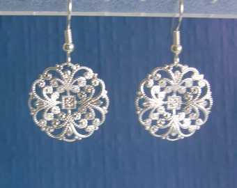 Round Silver or Gold Filigree Pierced or Clip On Earrings
