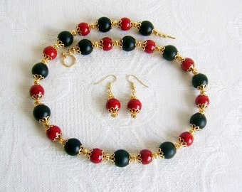 Blackstone and Red Riverstone Necklace