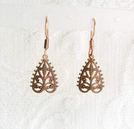 Small Copper Filigree Heart Pierced Earrings