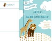 Lion and Giraffe Invitation