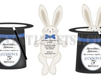 Magician Hat Invitation // Top Hat WithRabbit // Magic BIrthday Invite // Die Cut Hat and Rabbit Invitation